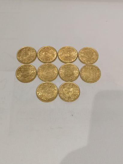 Lot 33 10 pièces de 20 Francs Suisse or...