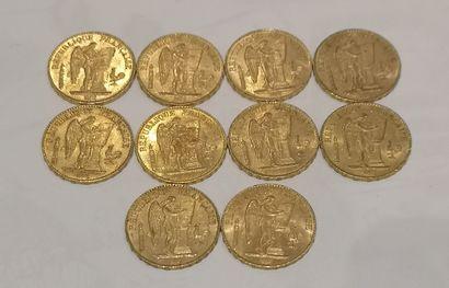Lot 4 10 pièces de 20 Francs or au Coq (usures)...