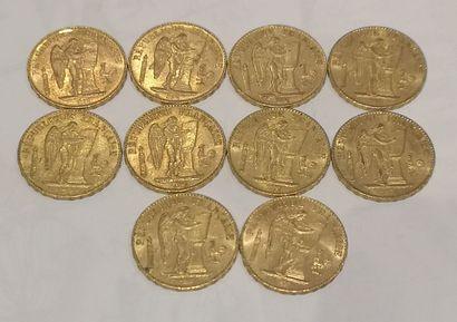 Lot 5 10 pièces de 20 Francs or au Génie...