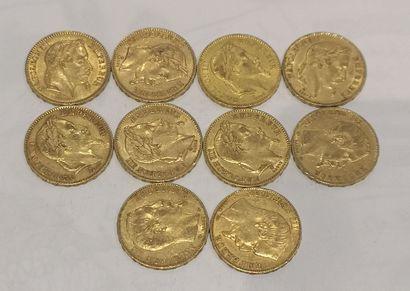 Lot 8 10 pièces de 20 Francs or Napoléon...