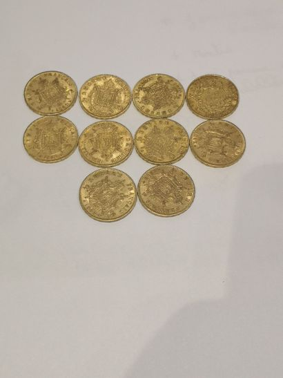 Lot 20 10 pièces de 20 Francs or (usures)...