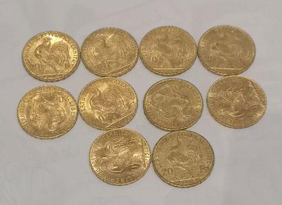 Lot 3 10 pièces de 20 Francs or au Coq (usures)...