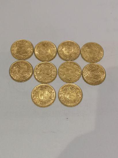 Lot 36 10 pièces de 20 Francs Suisse or...