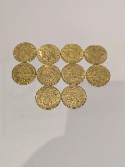 Lot 21 10 pièces de 20 Francs or (usures)...