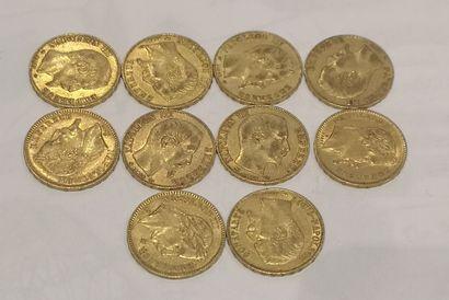 Lot 6 10 pièces de 20 Francs or au Génie...