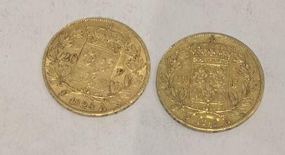 Lot 14 2 pièces de 20 Francs or Louis XVIII...