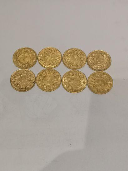Lot 29 8 pièces de 20 Francs Suisse or (usures)...