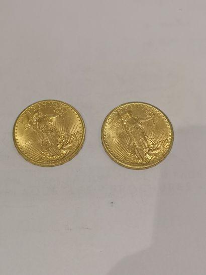 Lot 27 2 pièces de 50 Pesos or (usures)...