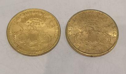 Lot 16 Deux pièces de 20 dollars or datées...