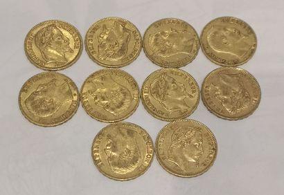 Lot 7 10 pièces de 20 Francs or Napoléon...