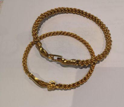 Lot 31 2 bracelets en or 750°/°° Poids...