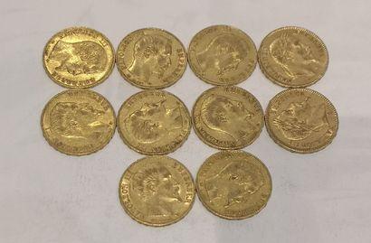 Lot 12 10 pièces de 20 Francs or Napoléon...