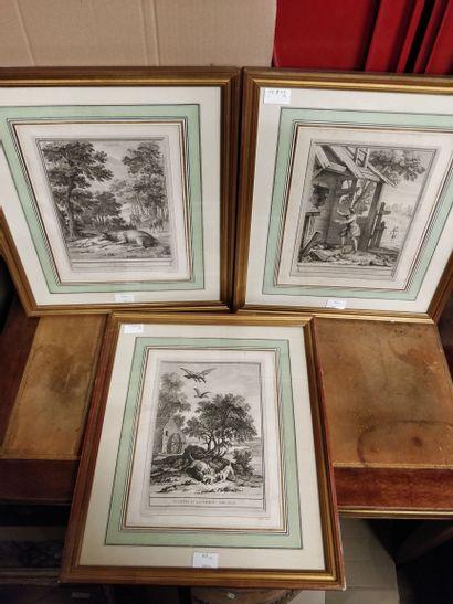 Lot de 3 gravures encadrées tirées des Fables...