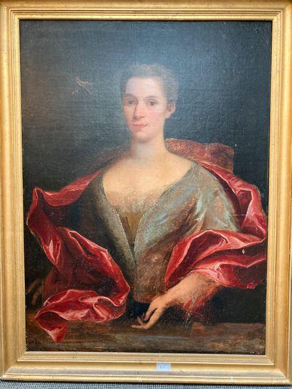 Portrait de femme au châle rouge. Huile sur...