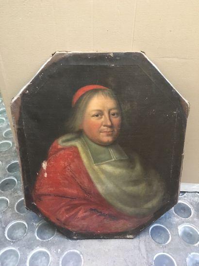 Ecole XIXe, Portrait d'éccéliastique, huile...