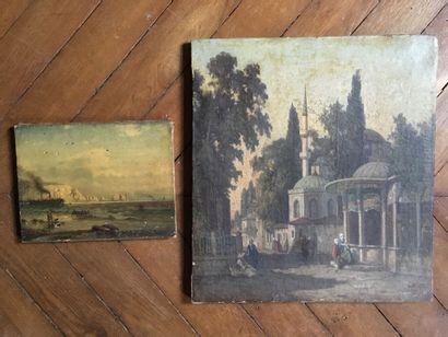 Ecole orientaliste fin du XIXe, -Vue d'une...