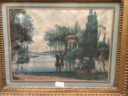 Ecole du XIXe : Promeneurs dans un parc,...
