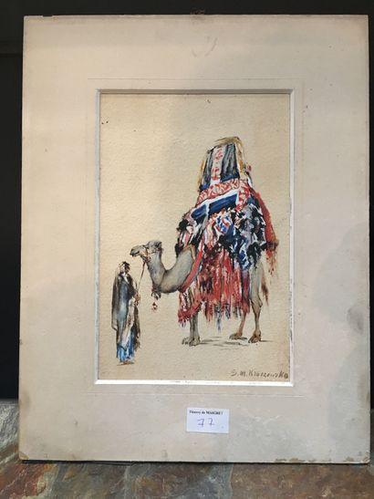 KRASZEWSKA, vers 1900, Dromadaire, aquarelle...