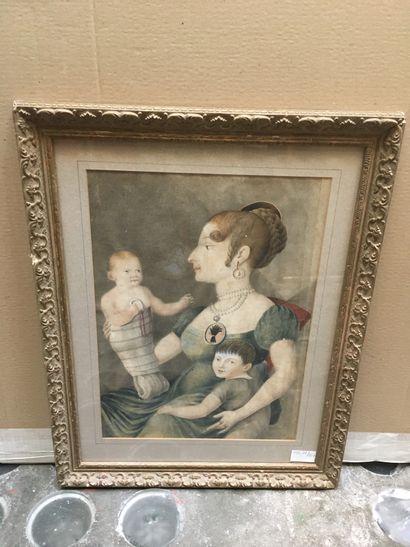 Ecole du XIXème, Mère et ses deux enfants,...