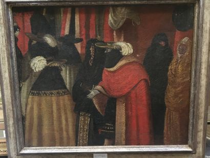 Ecole XXe, Personnages masqués, huile sur...