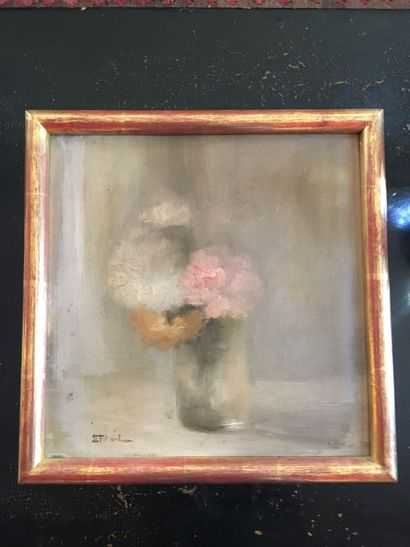 E. FRILLIARD, XXe-Bouquet de fleurs-Huile...