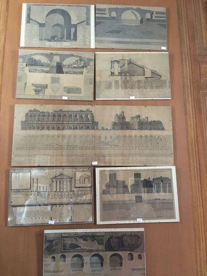 Ensemble de 23 planhes gravées : architecture...