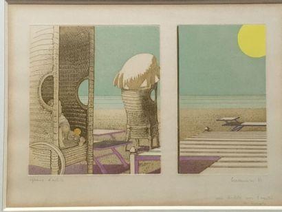 Leonardo Cremonini-Bord de plage-Lithographie...