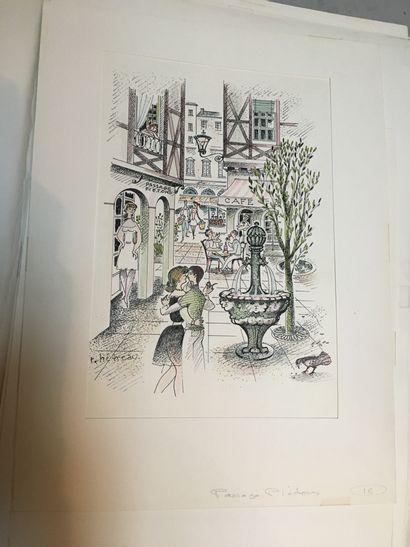 Lot de gravures dont Hetreau, Patay et ses...