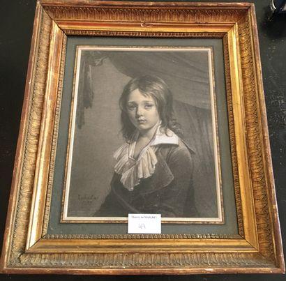 Ecole française vers 1800-Portrait d'enfant-Crayon,...