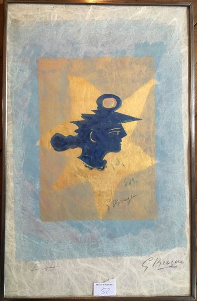 D'après Georges Braque, Tête grecque, lithoghraphie...