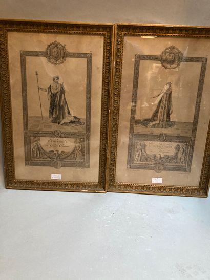 Deux gravures représentant l'Empereur et...