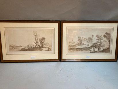 Paysages animés, deux gravures  19.5 x 40...