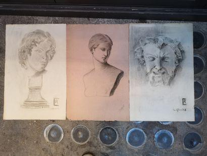 Etude d'après l'Antique    Trois dessins...
