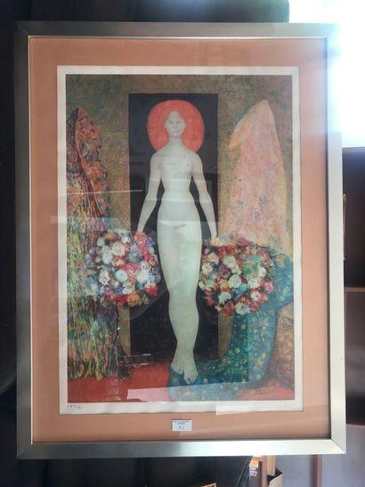 Léonor Fini. Femme au bouquet. Lithographie,...