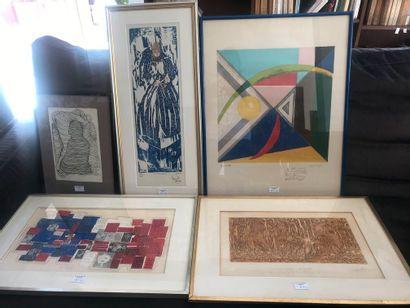 Lot de 5 compositions modernes. -Agnès Capri....