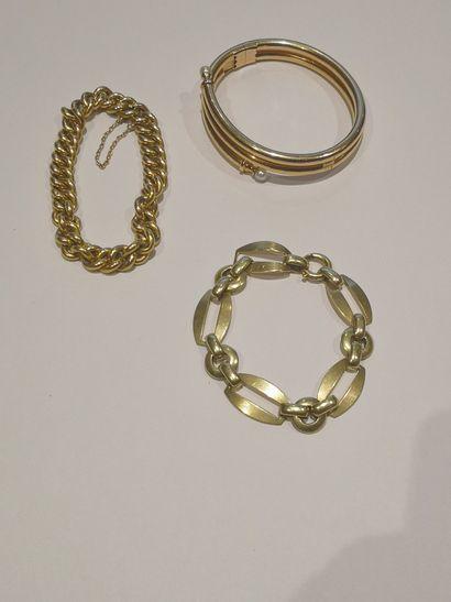 Lot en or 750°/°° comprenant :    Bracelet...