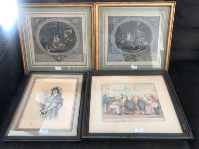 Lot de 4 gravures dont : Les Beignets, L'heureuse...