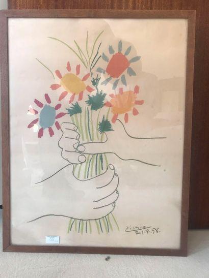 Pablo PICASSO (1881 – 1973) d'après. Bouquet...