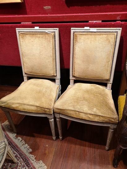 Quatre chaises laquées style Louis XVI