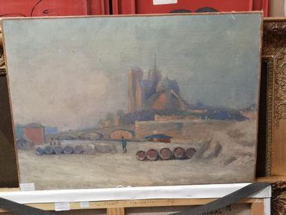 Vue de Notre Dame    Huile sur toile    Dim.:...