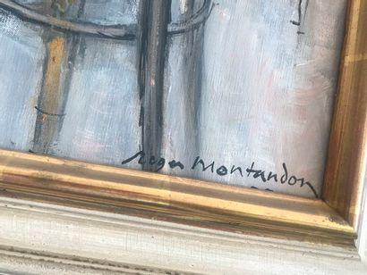 Roger Montandon. Intérieur à la table. Huile sur toile signée en bas à droite. Dim....