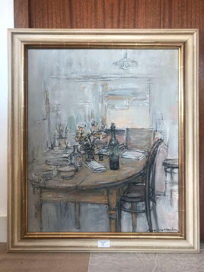 Roger Montandon. Intérieur à la table. Huile...