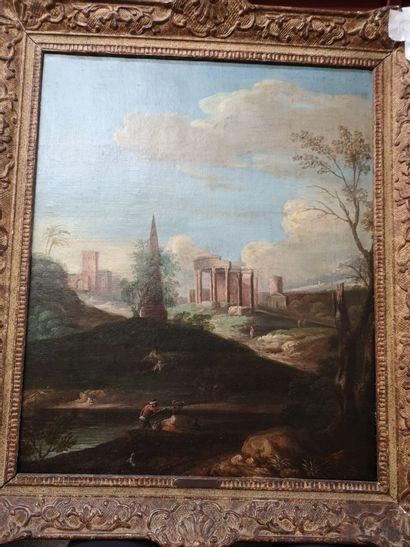 Ecole italienne.    Paysage animé aux ruines...