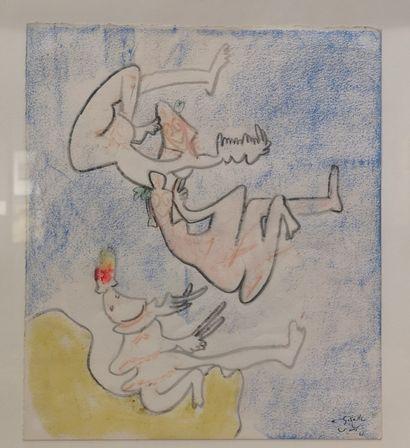 Roberto MATTA ECHAURREN (1911 - 2002). Sans titre. Technique mixte sur papier, signée...