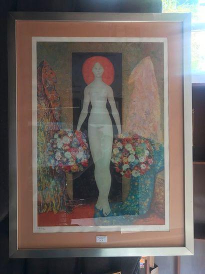 Léonor Fini. Femme au bouquet. Lithographie, épreuve d'artiste, numérotée 29/35...