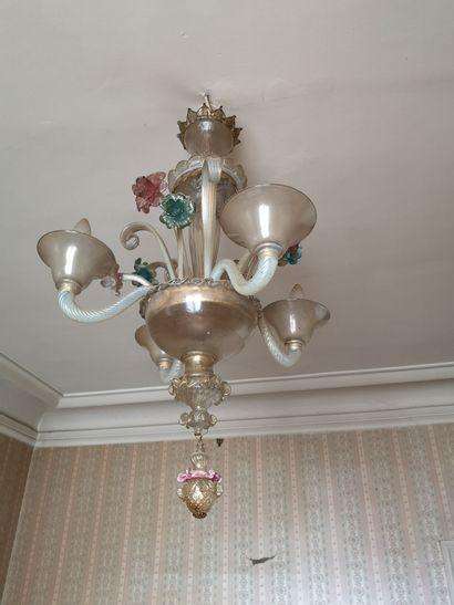 Lustre en verre de Venise 4 lumières H 76...