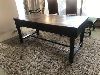 Bureau ou table rustique en bois teinté,...