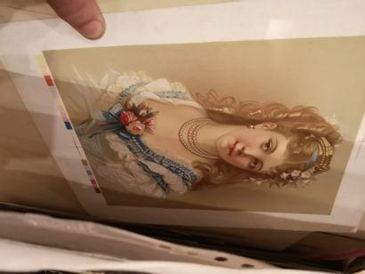 Carton à dessins contenant diverses estampes,...