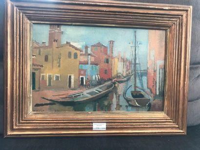 Françoise GILOT (Née en 1921). Canal à Burano....