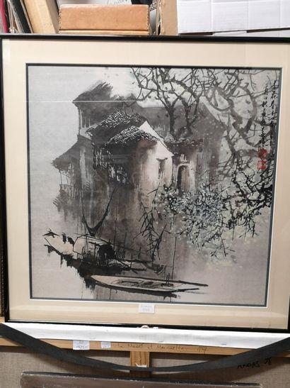 Maison sur la rivière    Encre de chine encadrée....